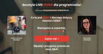 """Nagranie webinara """"RODO dla programistów: devstyle LIVE z Beatą Marek z cyberlaw.pl"""""""